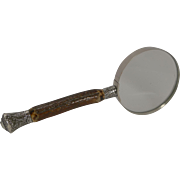 Grand Antique English Antler Horn & Sterling Silver Magnifying Glass - 1887