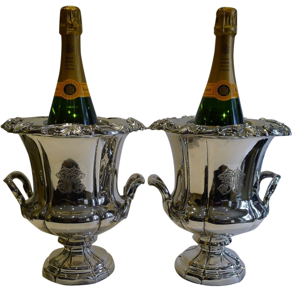 Magnificent Pair Antique English Old Sheffield Plate Wine Coolers c.1820