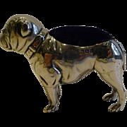 Rare Antique Sterling Silver Figural Pin Cushion, English Bulldog