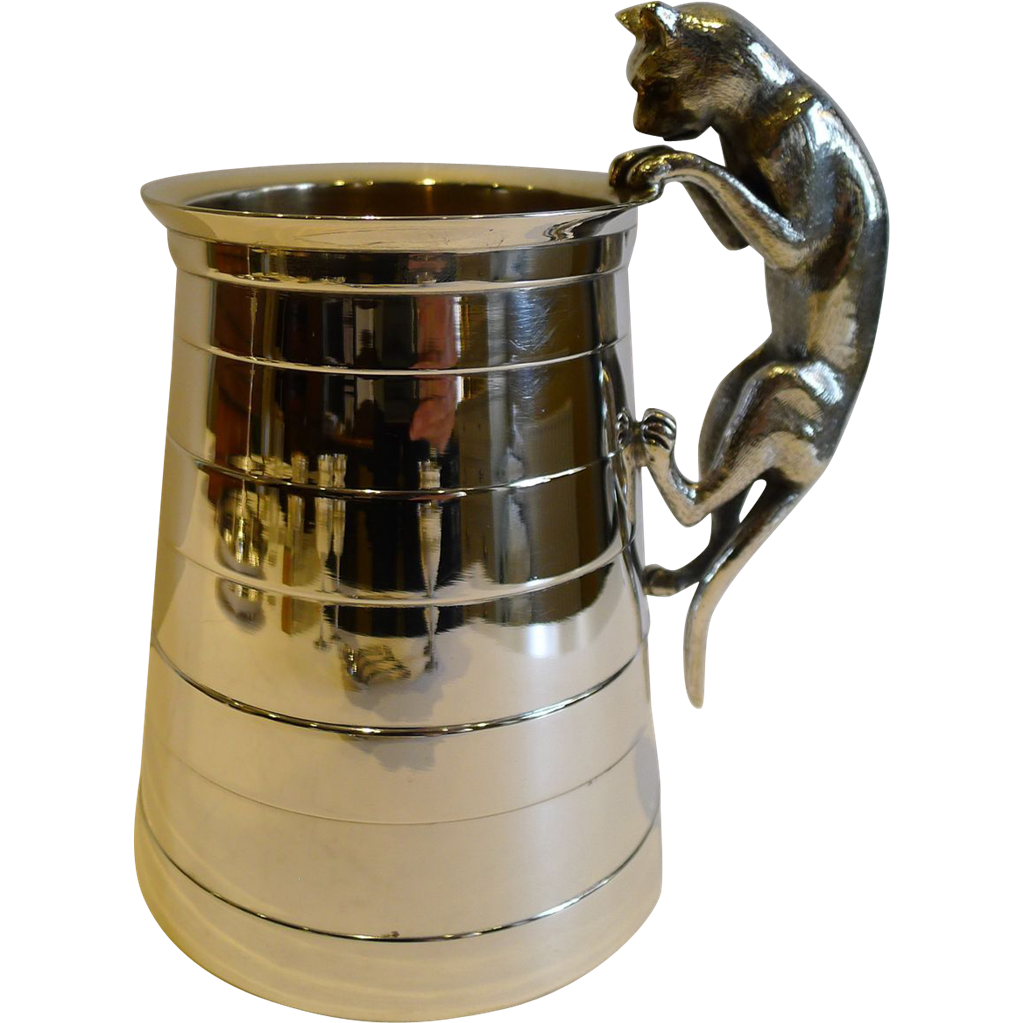 Rare Antique English Novelty Figural Tankard - Cat, Reg. For 1875