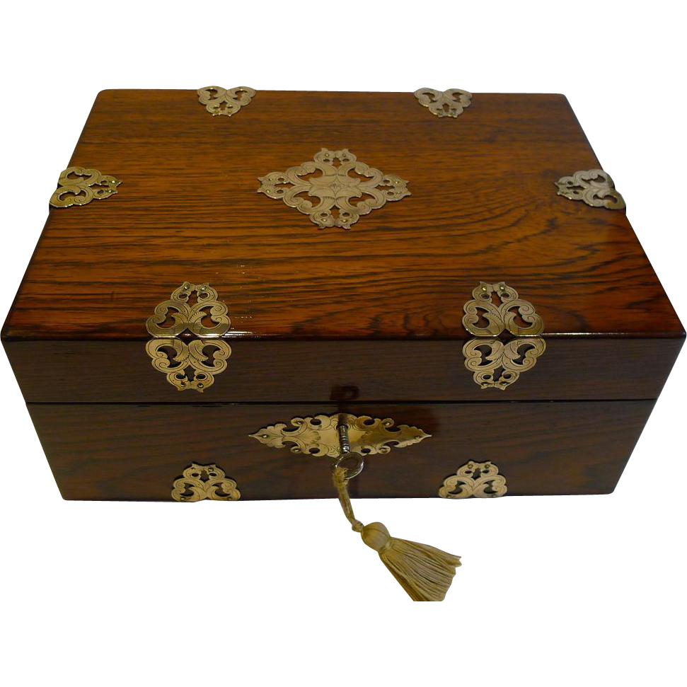 Antique English Brass Mounted Rosewood Jewelry Box c.1860