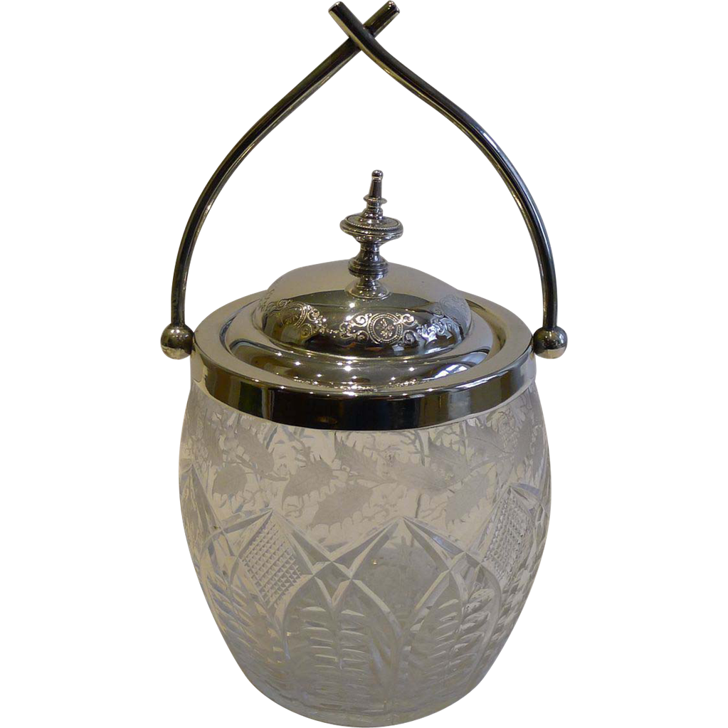 Antique English Cut Crystal & Silver Plated Biscuit Box / Barrel c.1890