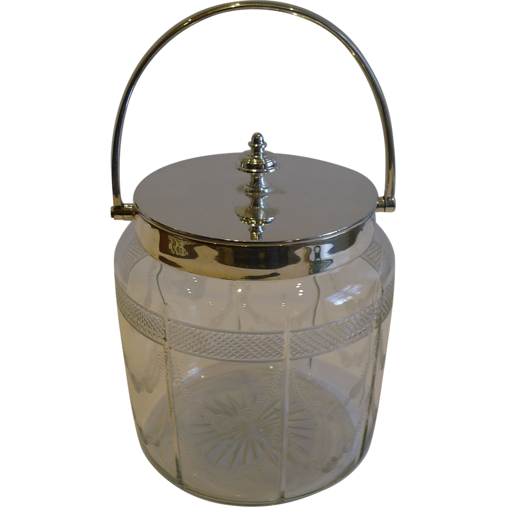 Antique English Garland Engraved Biscuit Box or Barrel c.1890