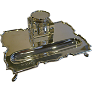 English Sterling Silver Inkstand / Inkwell - 1936