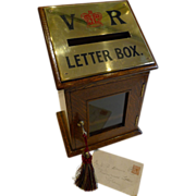 Antique English Letters Box In Oak With Brass c.1890
