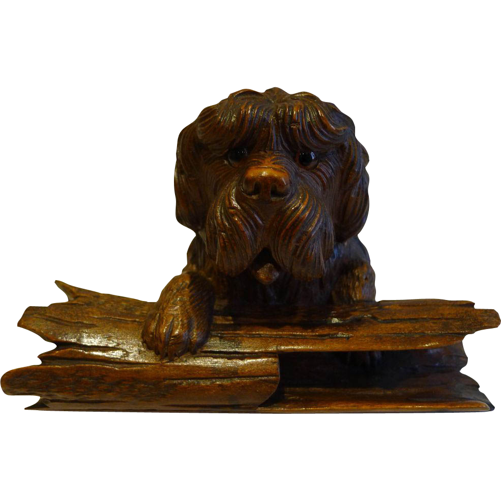 Charming Antique Black Forest Figural (Dog) Inkwell c.1890