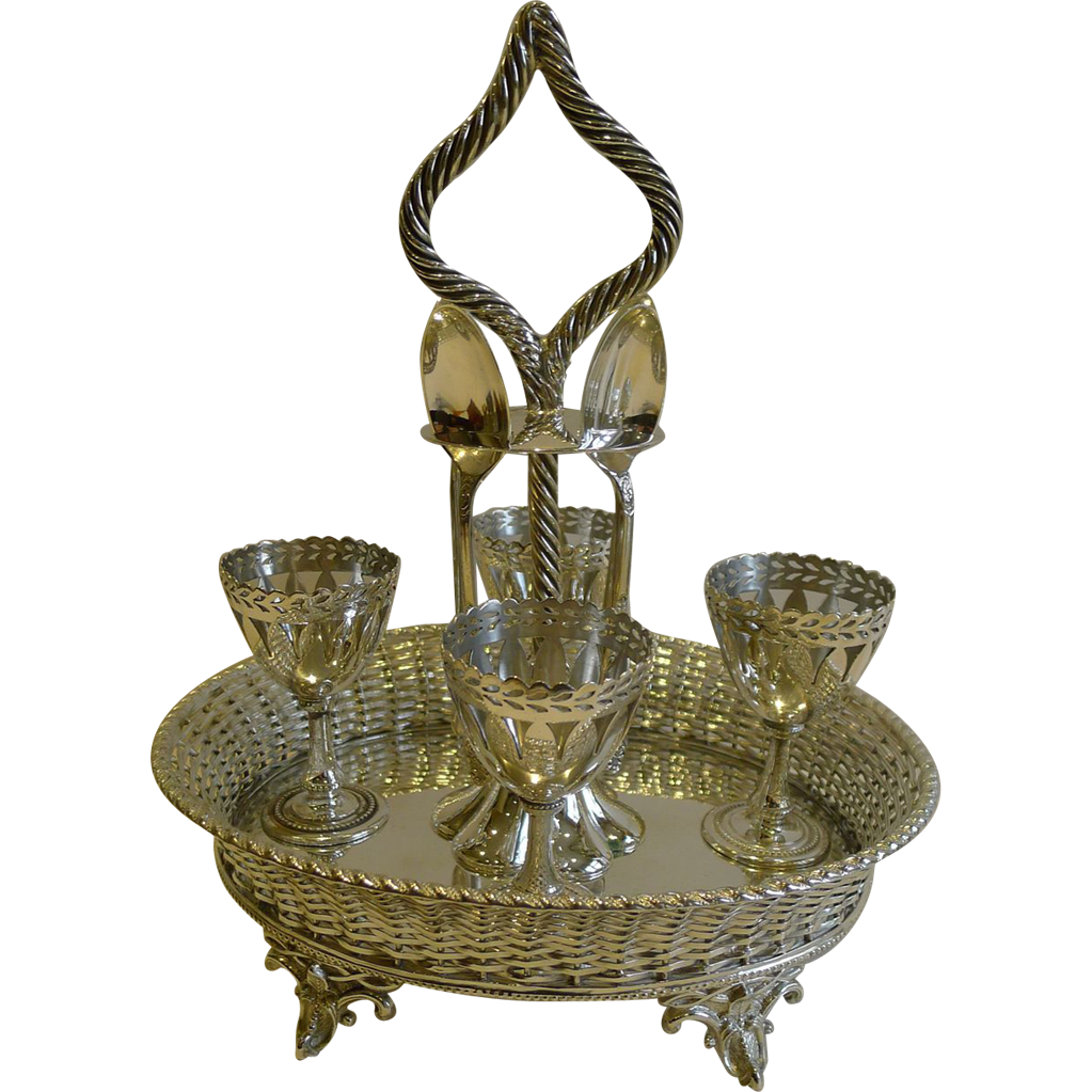 Fabulous Antique English Basket Weave Egg Cruet c.1880