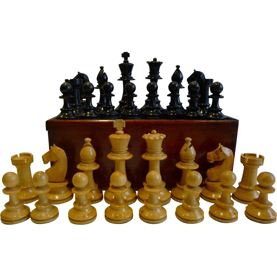 Antique English Weighted Boxwood Chess Set With Storage Box c.1910