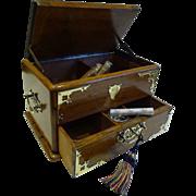 Antique English Brass Mounted Oak Automated Cigar Box / Humidor - 1890