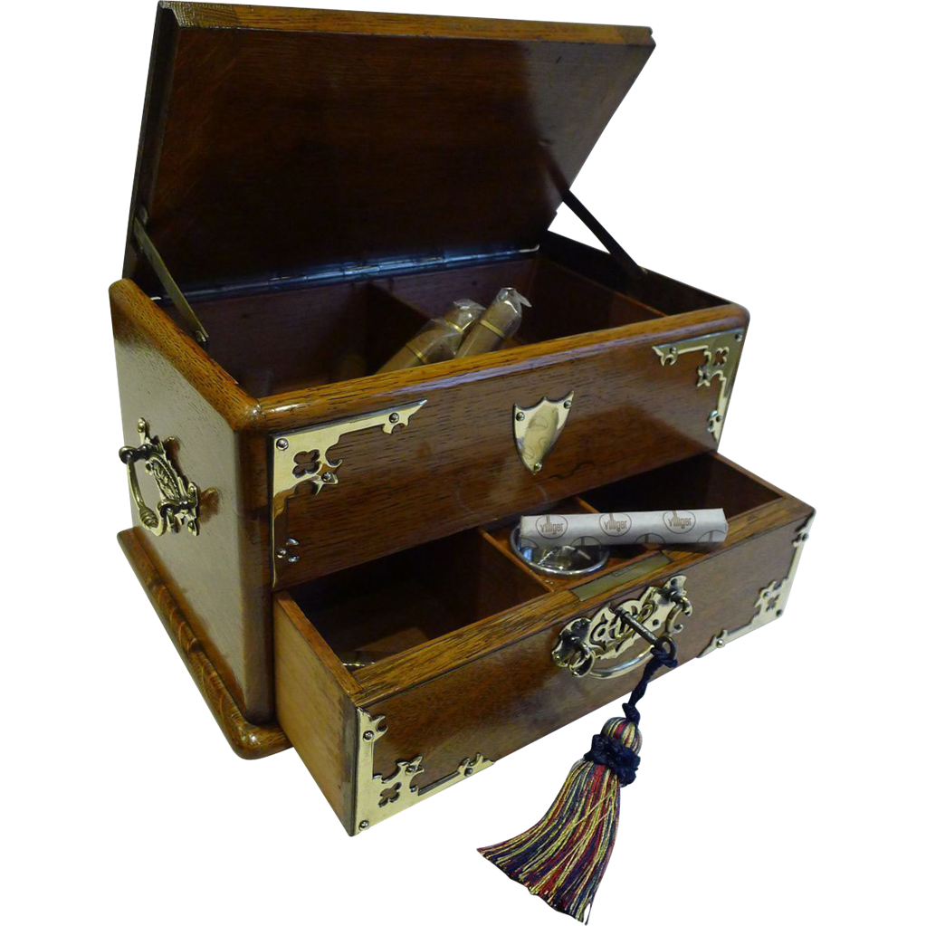 Antique English Brass Mounted Oak Automated Cigar Box / Humidor - 1890