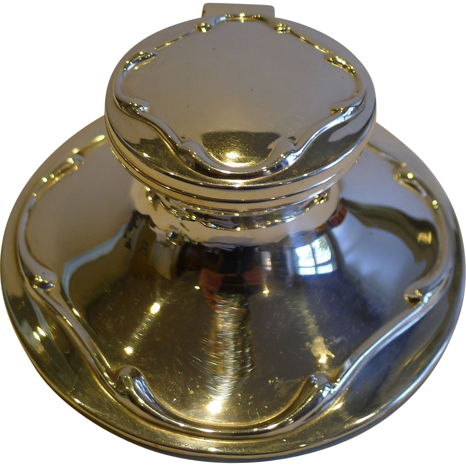 Antique English Art Nouveau Capstan Inkwell - Sterling Silver - 1911