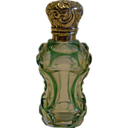Antique English Green Overlay Glass Perfume Bottle - Sterling Silver c.1890