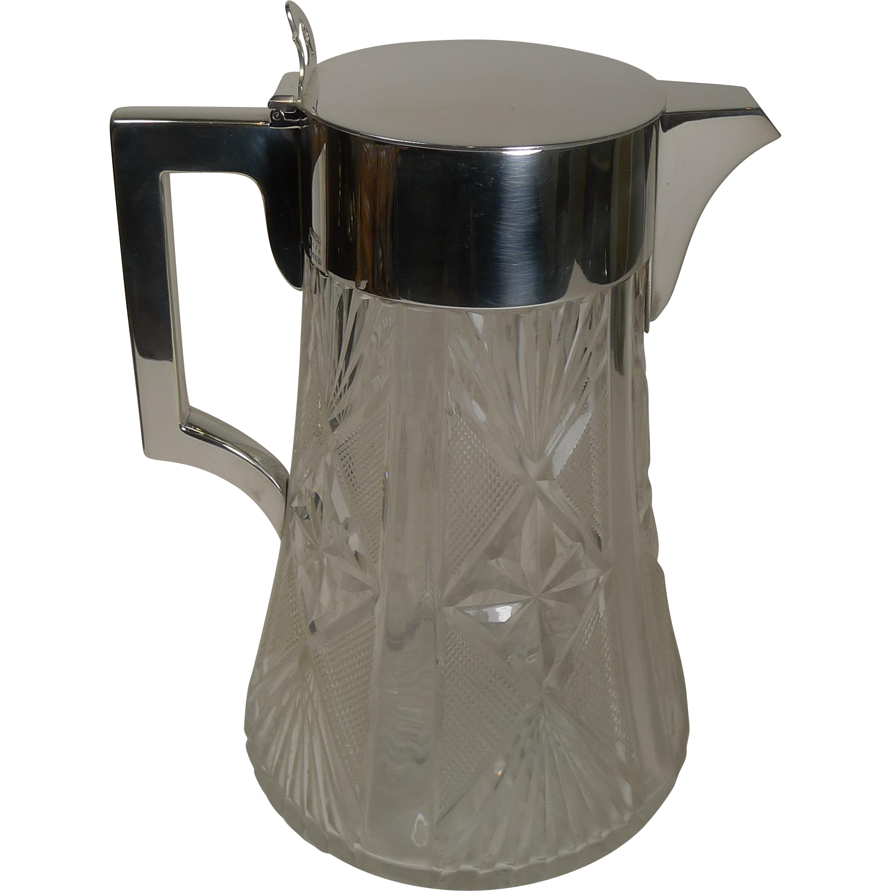 Antique English Cut Crystal and Silver Plated Lemonade or Pimms Jug / Pitcher c.1900