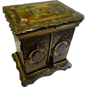 Grand Large Antique English Papier Mache Table Cabinet / Writing Box c.1860