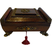 English Regency Period Sewing Box - Leather Covered c.1820
