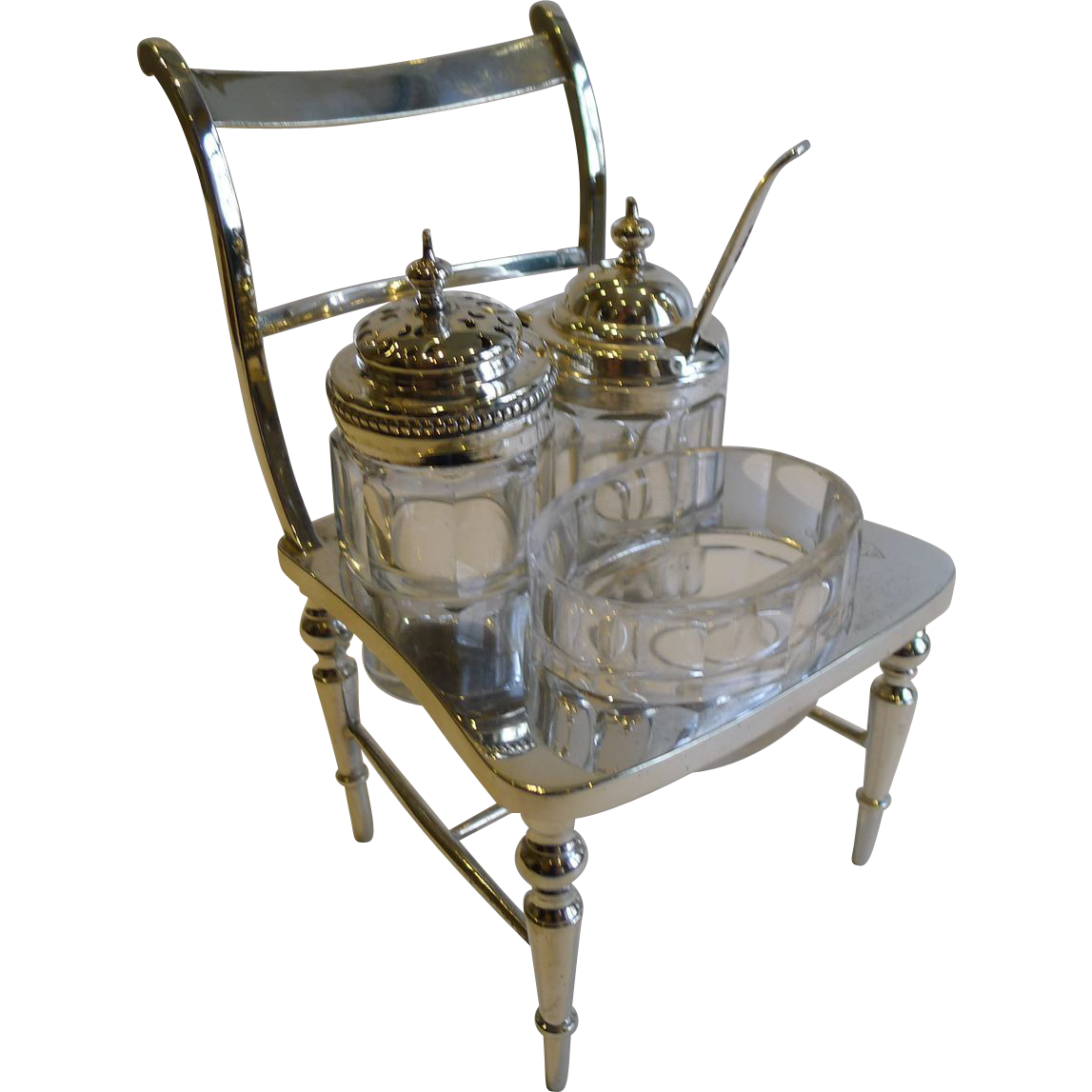 Rare Antique English Novelty Cruet In Silver Plate - Registered For 1877