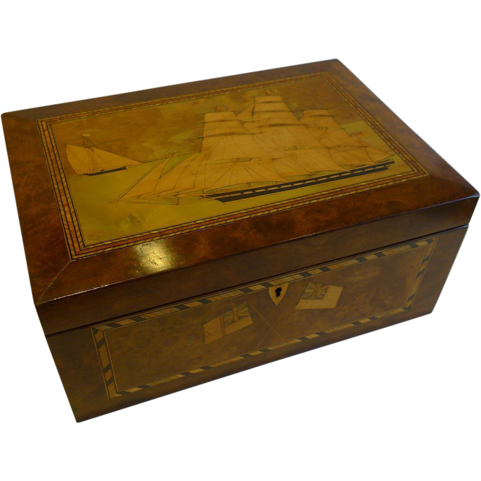 Magnificent Antique English Trinity House Sewing / Jewelry Box c.1870