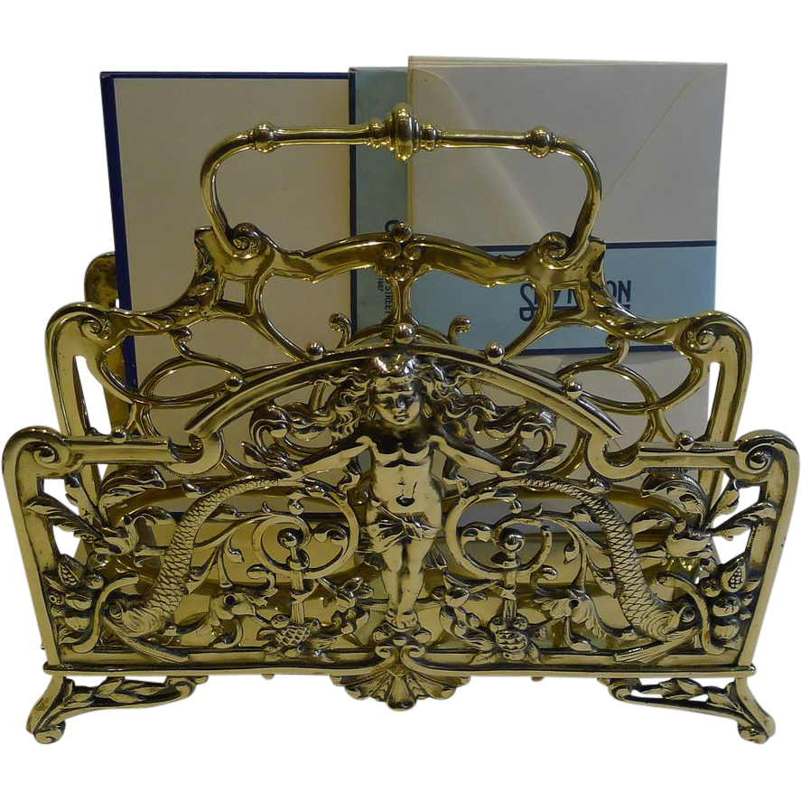 Stunning Large Antique English Figural Stationery / Newspaper Rack - Reg. 1887