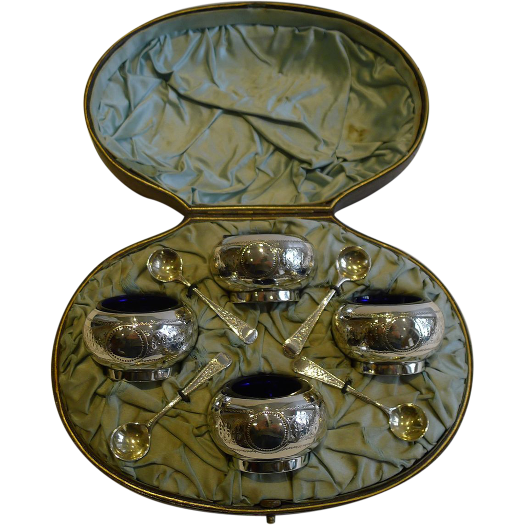 Boxed Set Antique English Sterling Silver Open Salts & Spoons - 1881