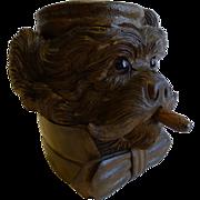 Magnificent Black Forest Carved Linden Wood Terrier Tobacco Box c.1880