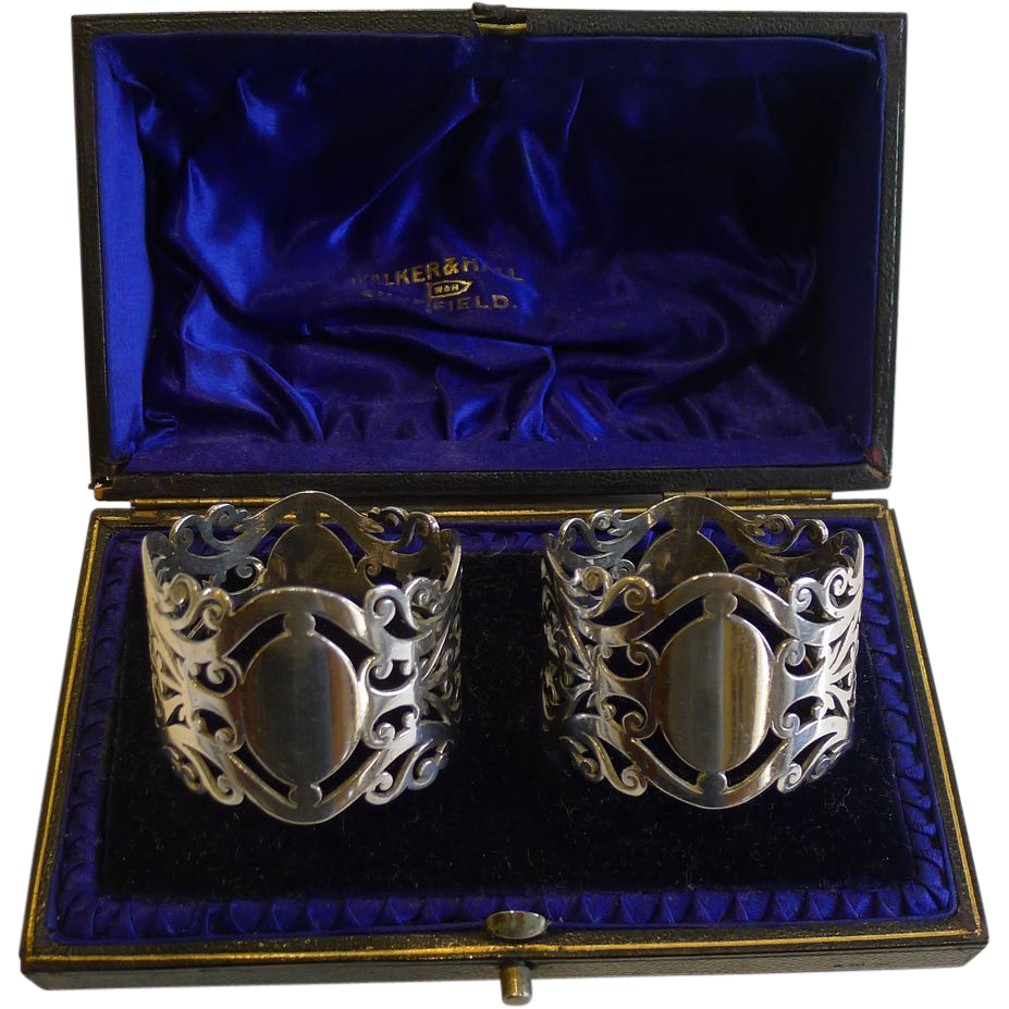 Top Quality Pair Antique Sterling Silver Napkin Rings By Walker & Hall