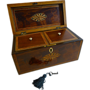 George III English Inlaid Mahogany Tea Caddy c.1800