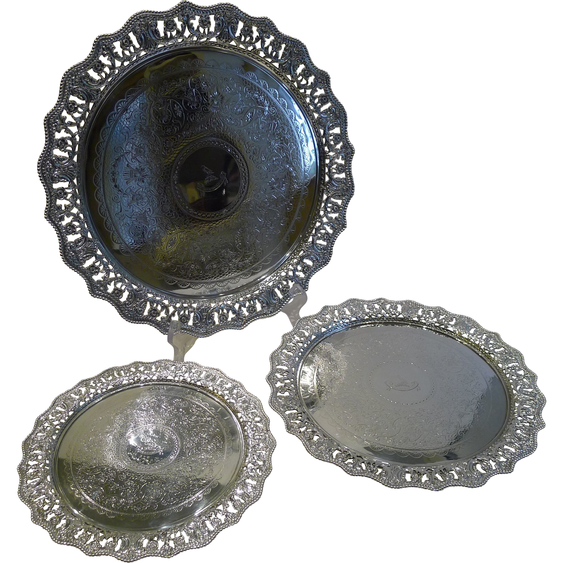 Fabulous Set Three Graduated Silver Plated Salvers / Trays c.1860