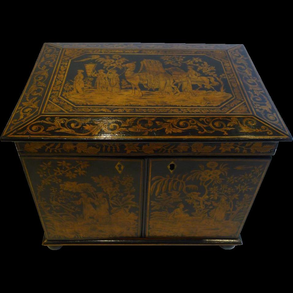 Antique English Chinoiserie Penwork Jewelry Cabinet c.1790