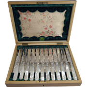 Finest Set Silver Plate and Mother of Pearl Fruit / Desert Knives and Forks