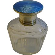 Sterling Silver & Blue Guilloche Enamel Lidded Cologne Bottle - 1929