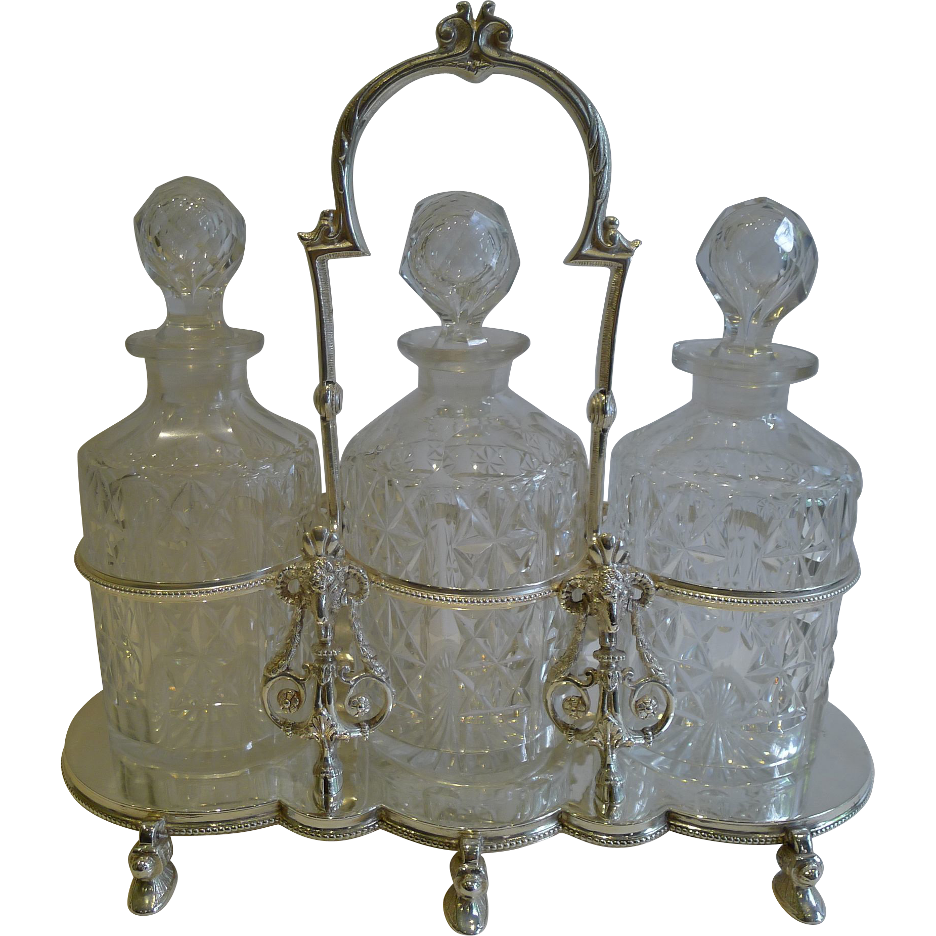 Antique English Figural Tantalus in Silver Plate With Cut Crystal Decanters