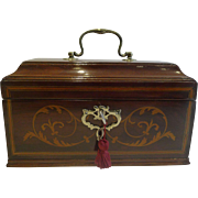 Antique English Inlaid Mahogany Tea Caddy c.1790