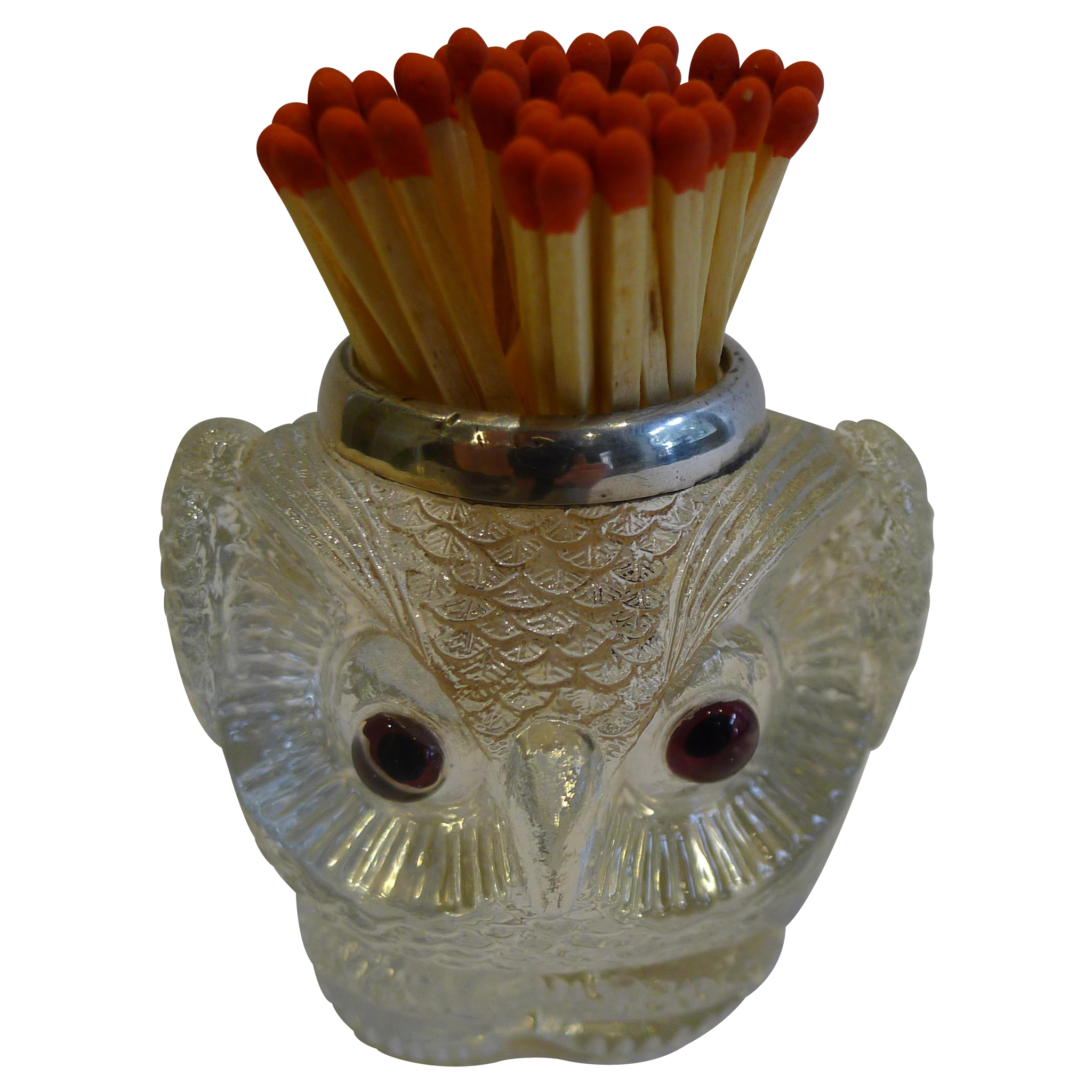 Rare Antique English Figural Match Strike - Owl