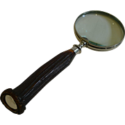 English Antler Horn and Sterling Silver Handled Magnifying Glass - 1917