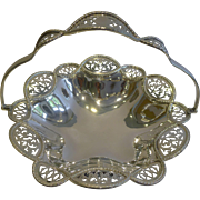 English Pierced or Reticulated Silver Plated Cake Basket by Walker and Hall