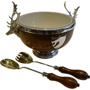 Magnificent Stag Handled Oak & Silver Plated Salad Bowl and Servers by Daniel Arter c.1890