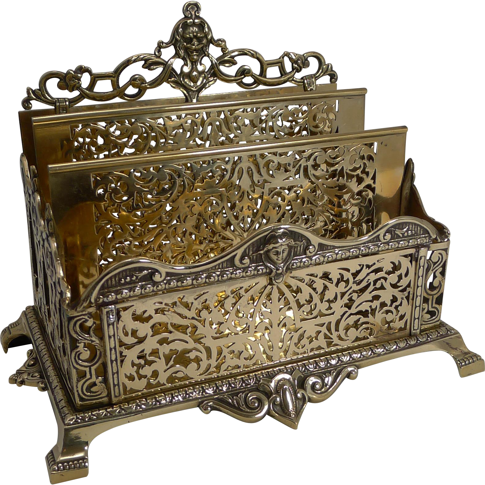 Grand Antique English Brass Stationery Rack / Holder
