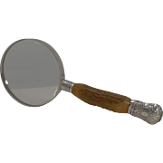 Grand Antique English Antler Horn & Sterling Silver Magnifying Glass - 1892