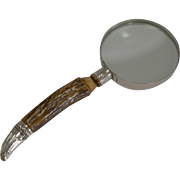 Large Antler Horn and Silver Magnifying Glass