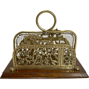 Antique English Oak and Brass Letter Holder - Indian Tree c.1880