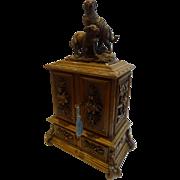 Antique Black Forest Figural Jewelry Cabinet c.1900 - St Bernard Dogs