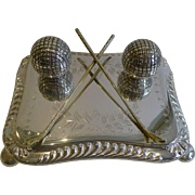 Antique English Novelty Silver Plated Inkwell - Golf - c.1900