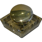 Handsome Large Rhombus Inkwell With Sprung Lid c.1890