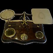 Grand Oversized Antique English Burr Walnut Postal or Letter Scale c.1890