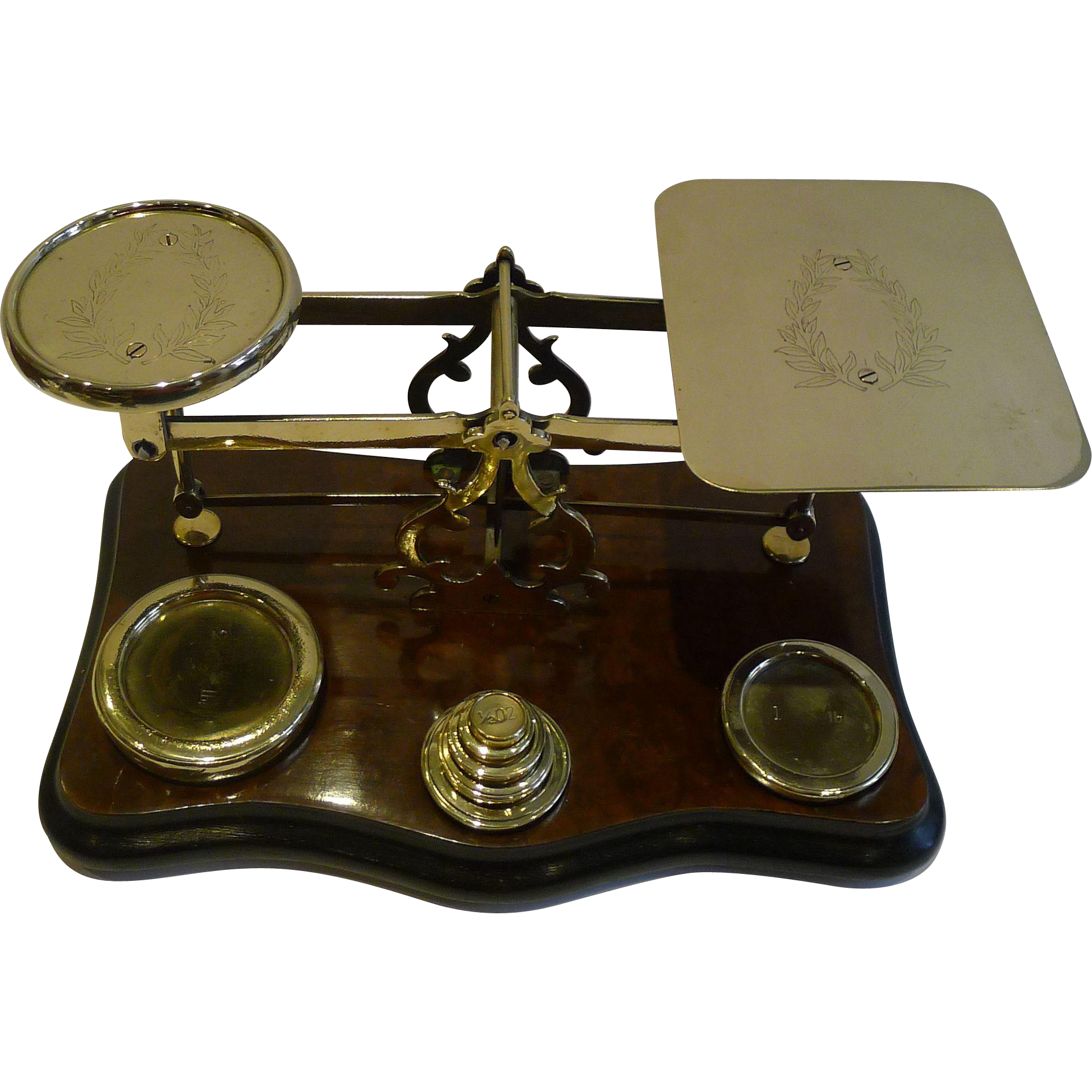 Grand Oversized Antique English Burr Walnut Postal or Letter Scale c.1890