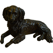 Antique English Bronze Figural Inkwell - Dog With Glass Eyes