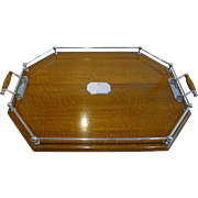Large Antique English Oak and Silver Plated Tray c.1890