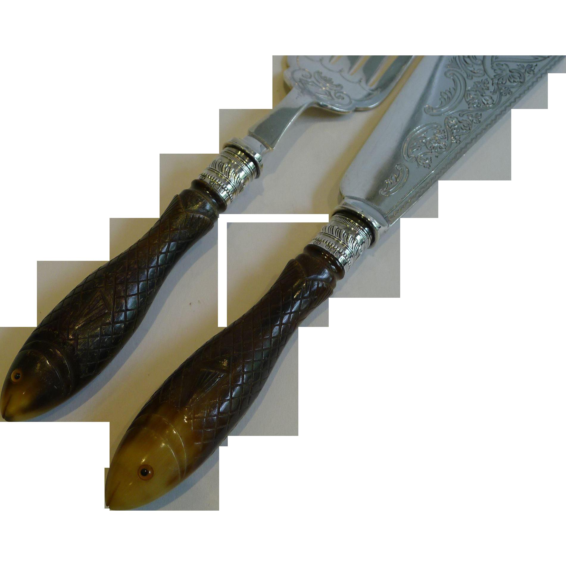 Rare Figural Fish Servers - Carved Fish Handles - 1904