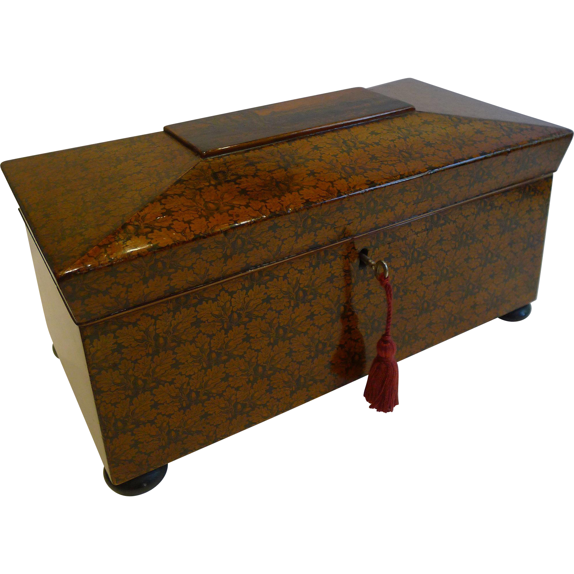 Magnificent and Rare Scottish Regency Penwork Tea Caddy c.1820 - Edinburgh