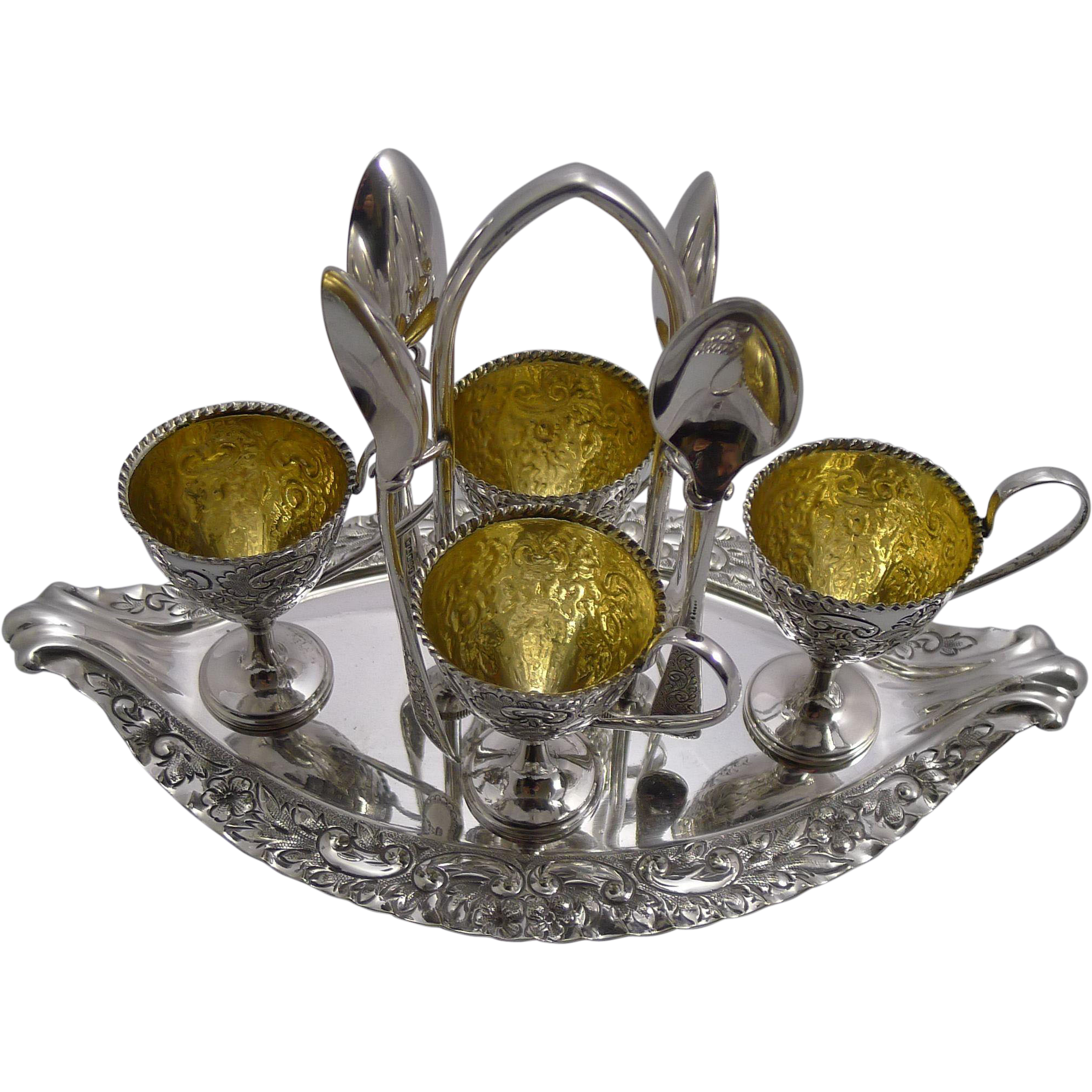 Magnificent Antique English Silver Plated Egg Cruet by Walker & Hall c.1903